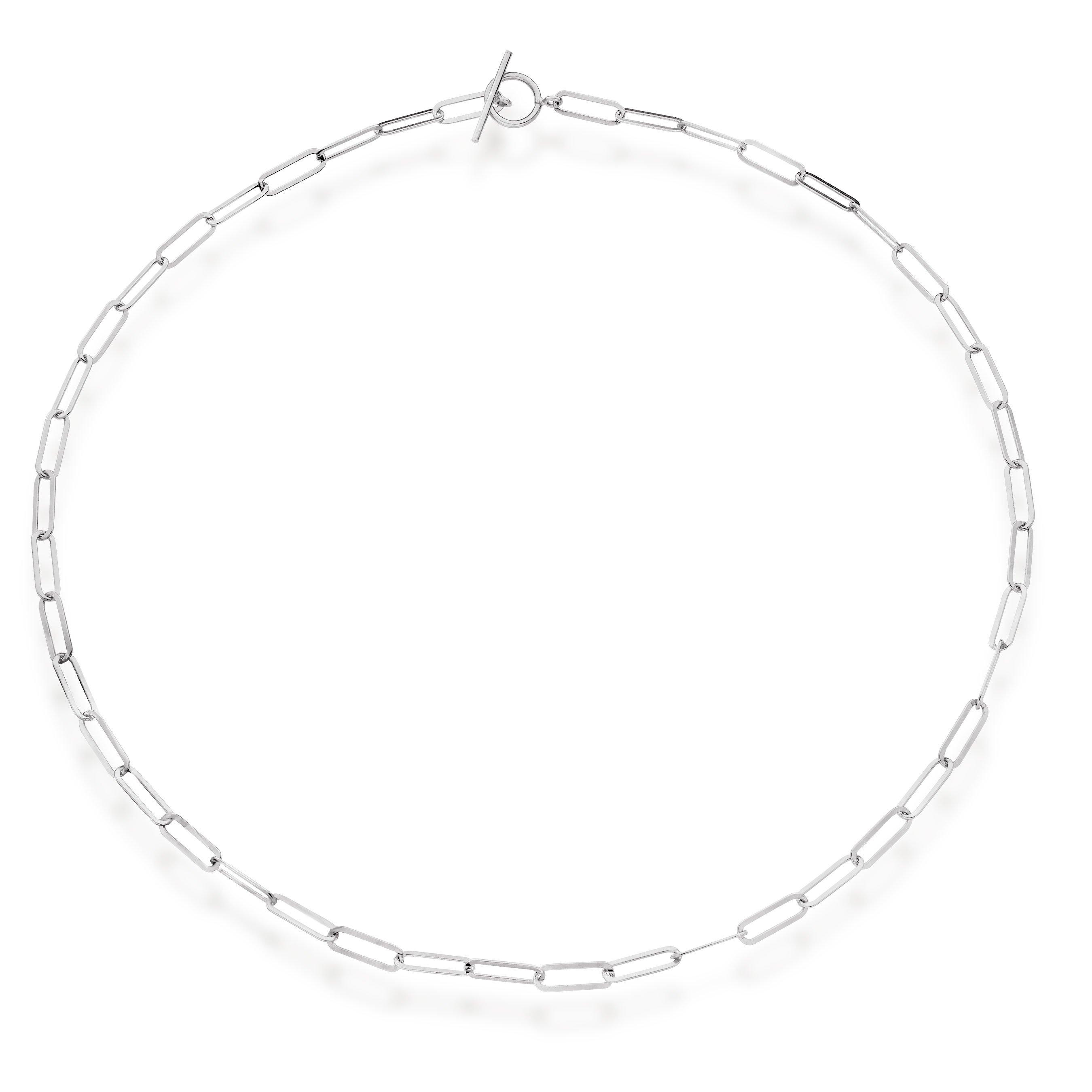 Silver Link T-Bar Necklace