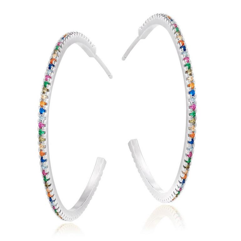 Silver Cubic Zirconia Multi-Coloured Hoop Earrings