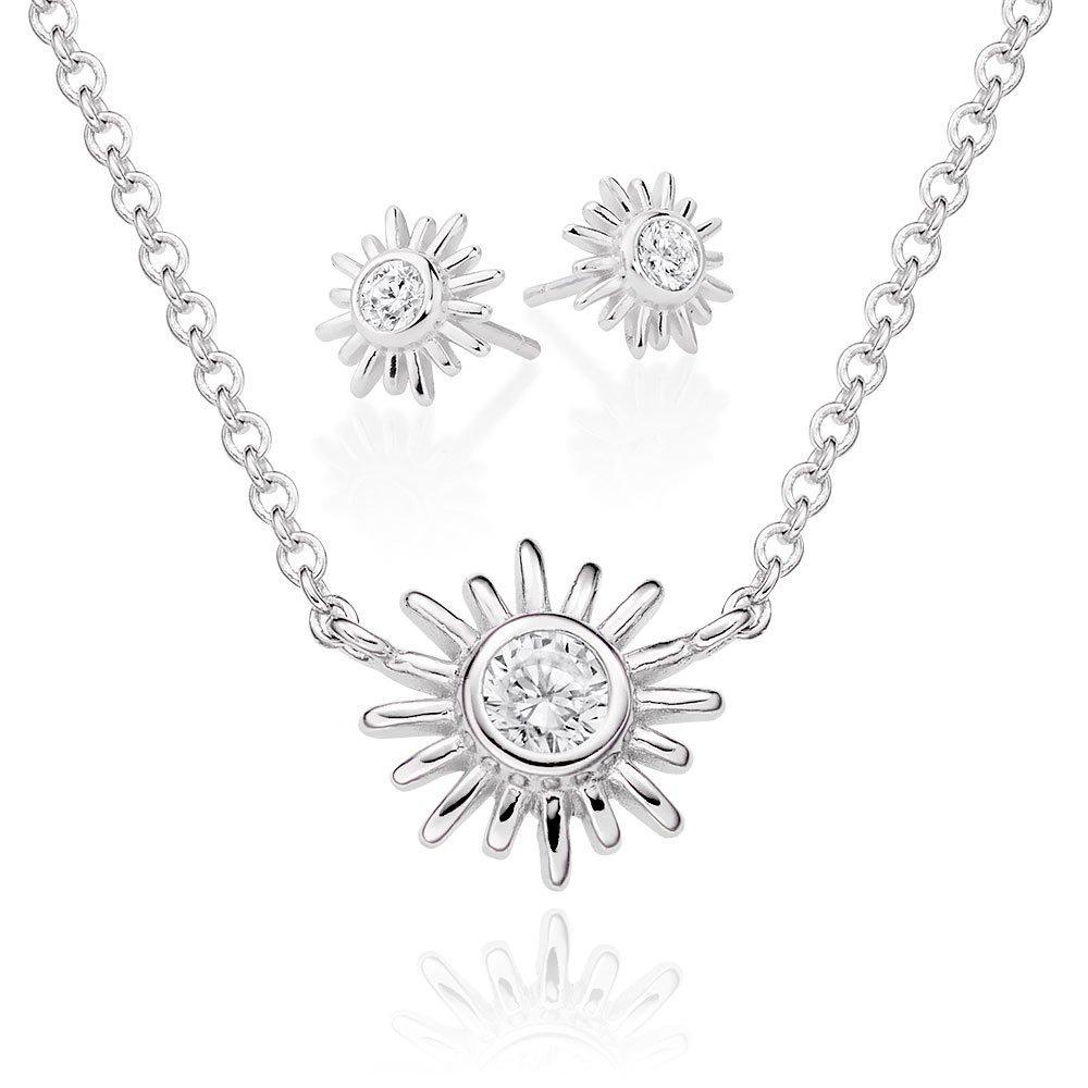 Silver Cubic Zirconia Sunburst Pendant and Earring Set