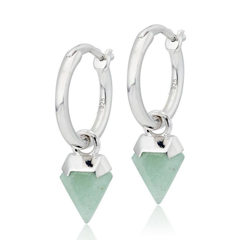 Silver Aventurine Charm Hoop Earrings