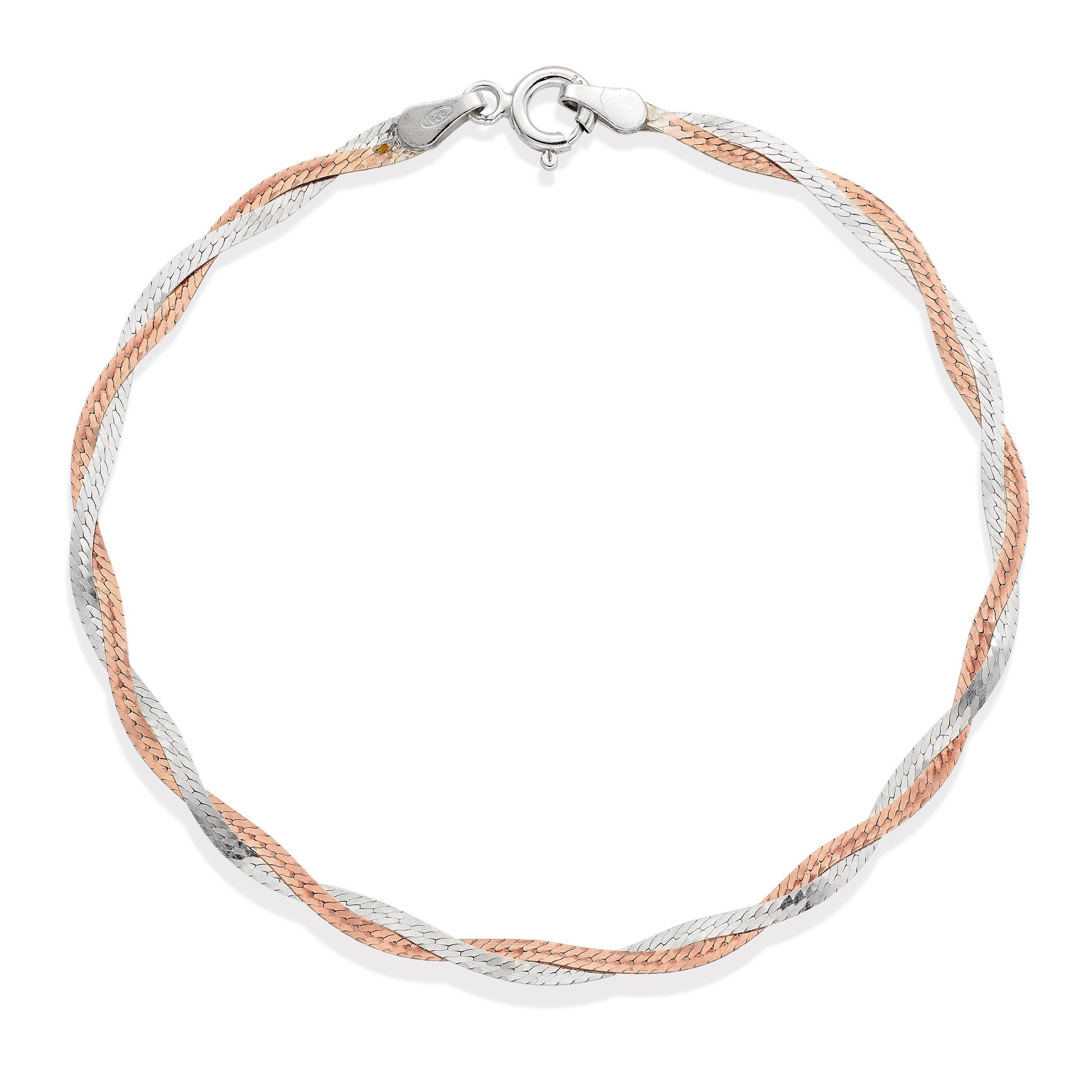 Silver 18ct Rose Gold Plated Plait Bracelet