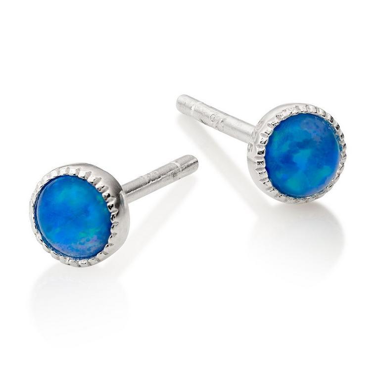 Silver Synthetic Blue Opal Earrings