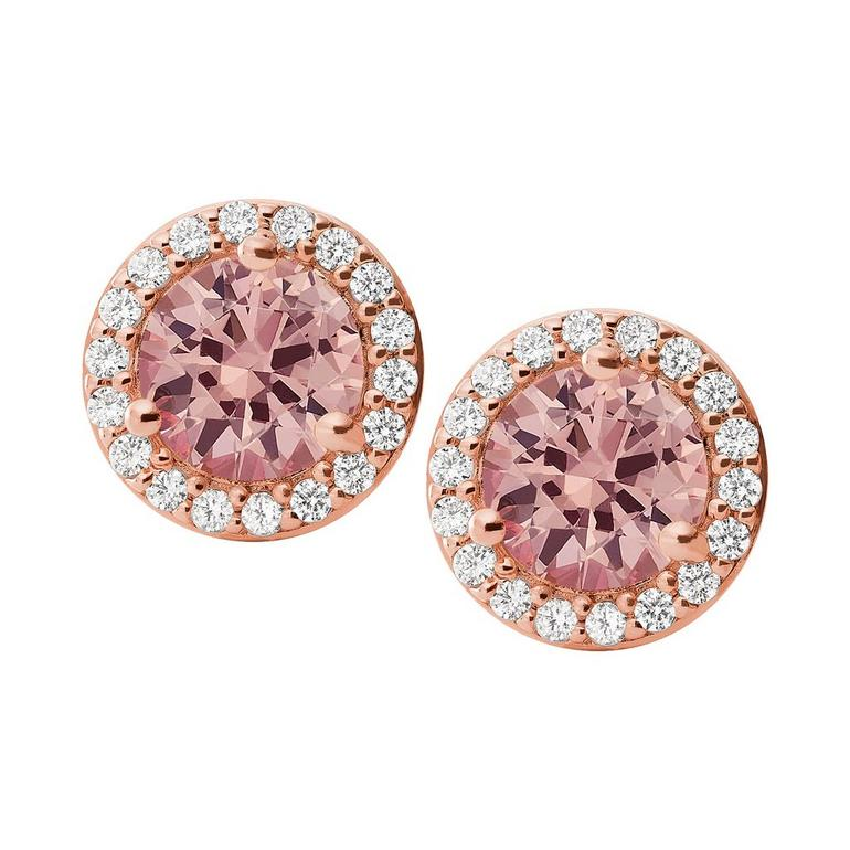 Michael Kors Exclusive Rose Gold Plated Silver Pink Halo Earrings