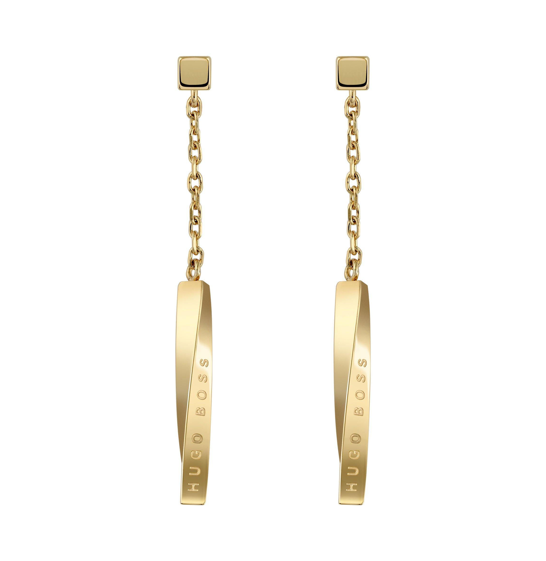BOSS Signature Gold Tone Drop Earrings