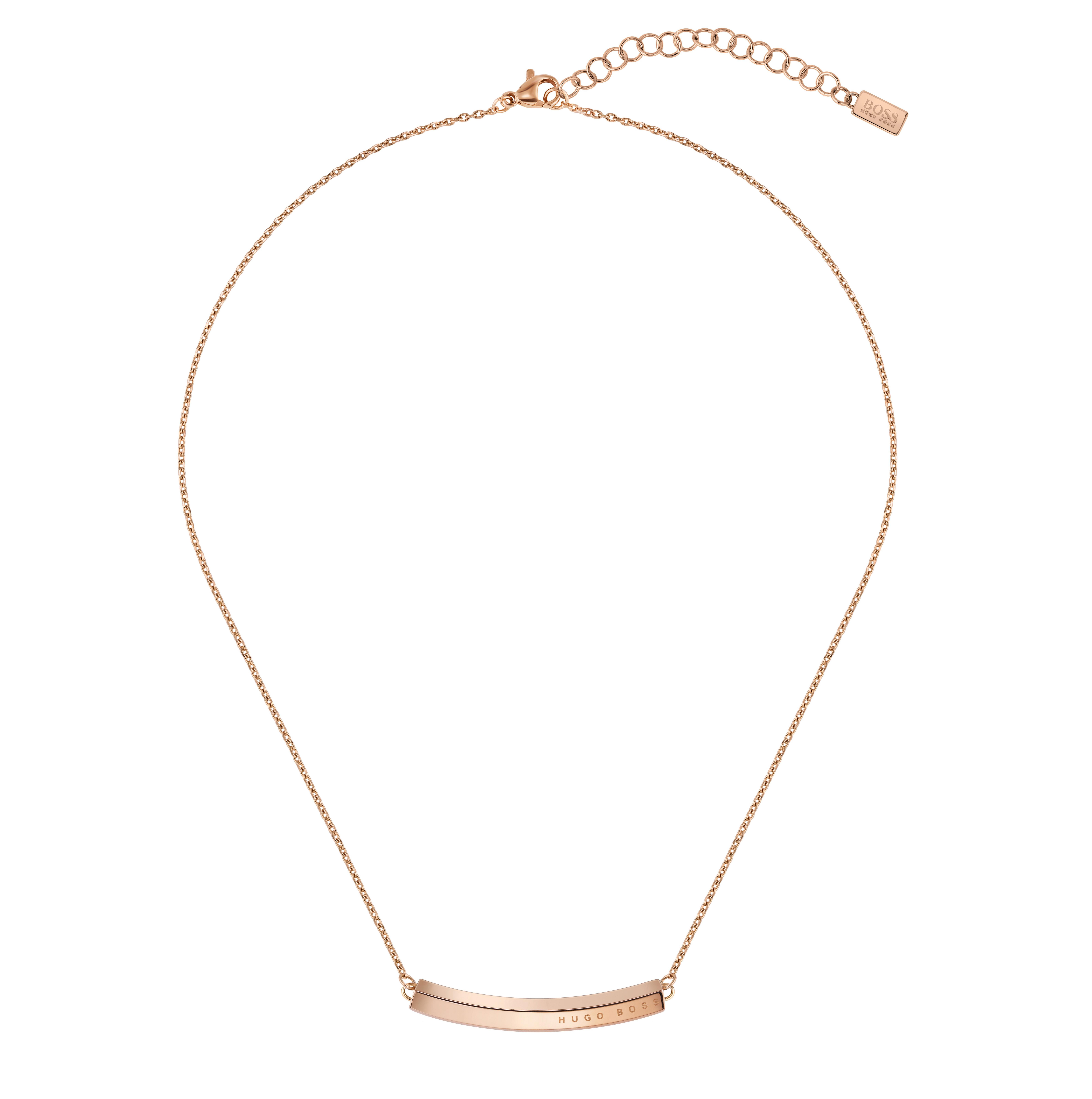 BOSS Insignia Rose Gold Tone Bar Necklace