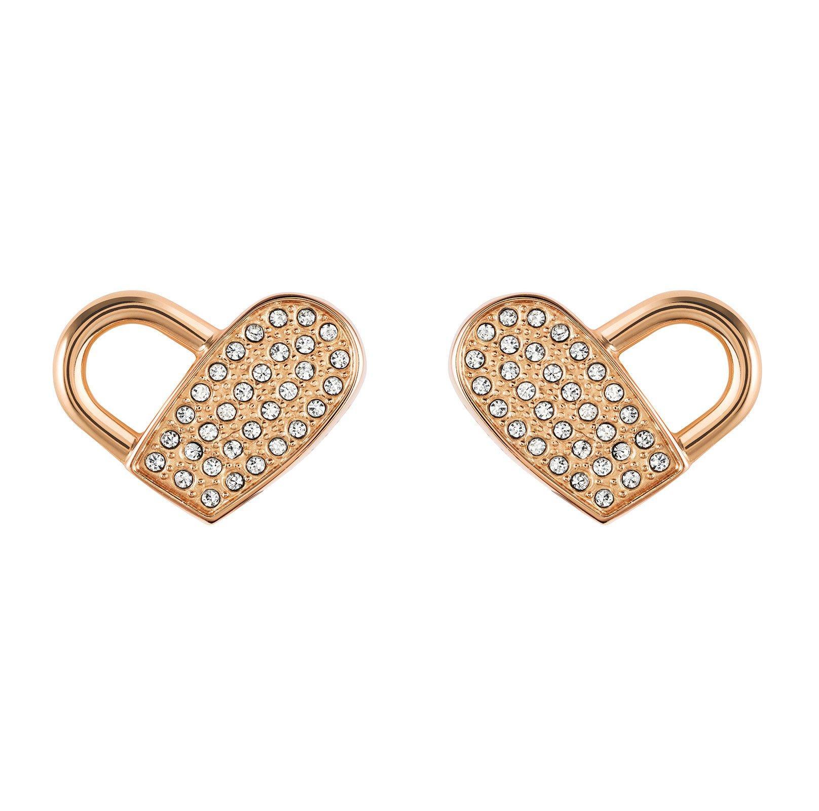 BOSS Soulmate Rose Gold Tone Crystal Heart Earrings