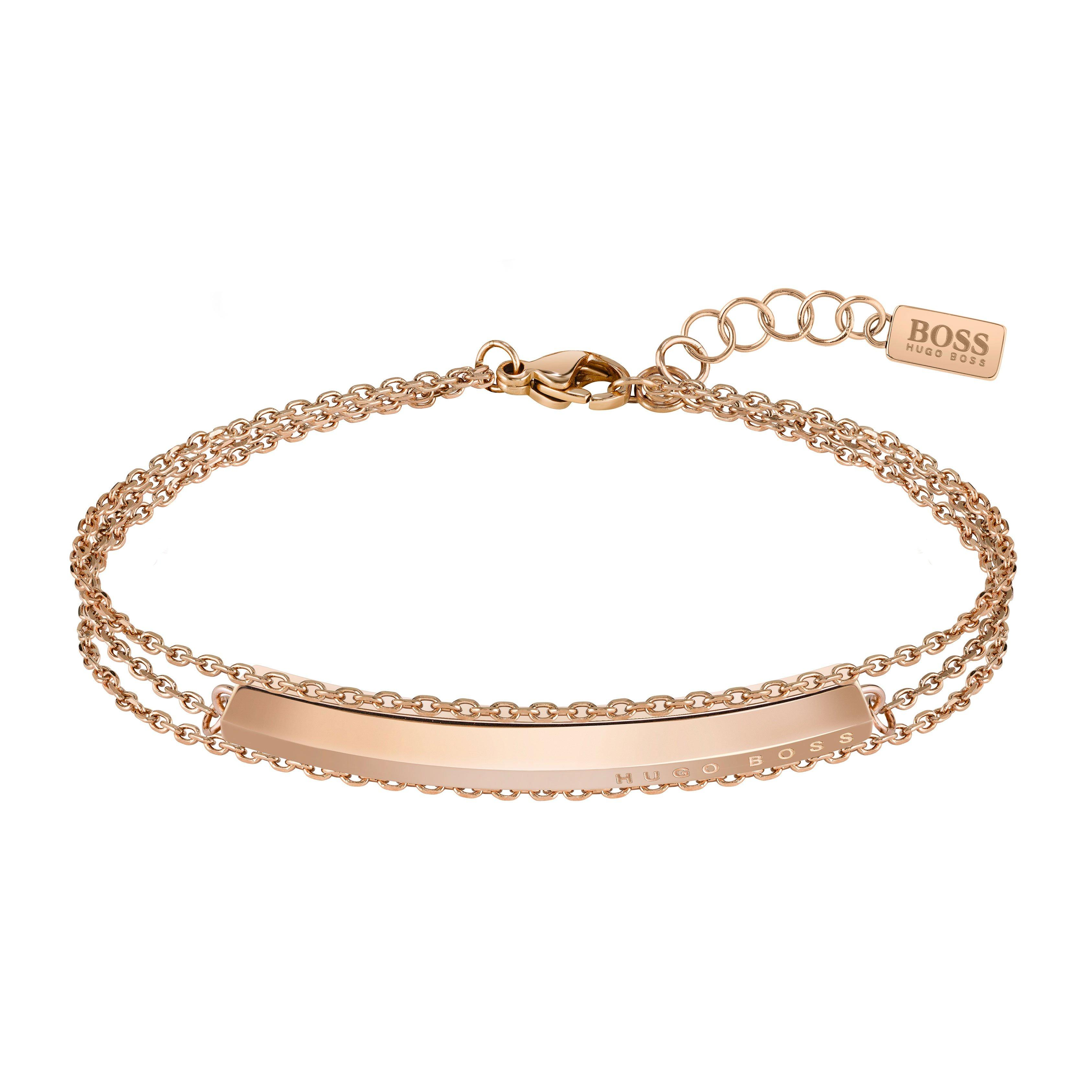 BOSS Insignia Rose Gold Tone Bar Bracelet