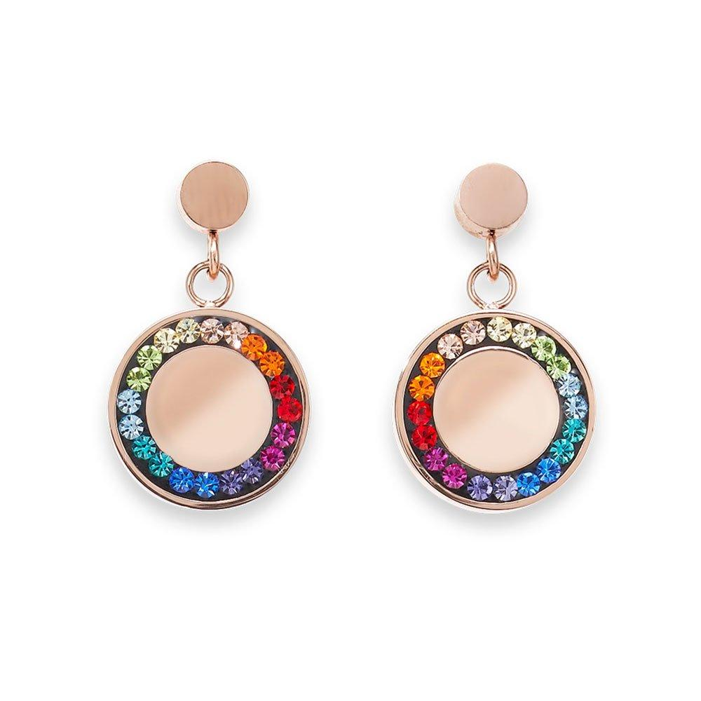 Coeur De Lion Rose Gold Tone Multi-Coloured Drop Earrings
