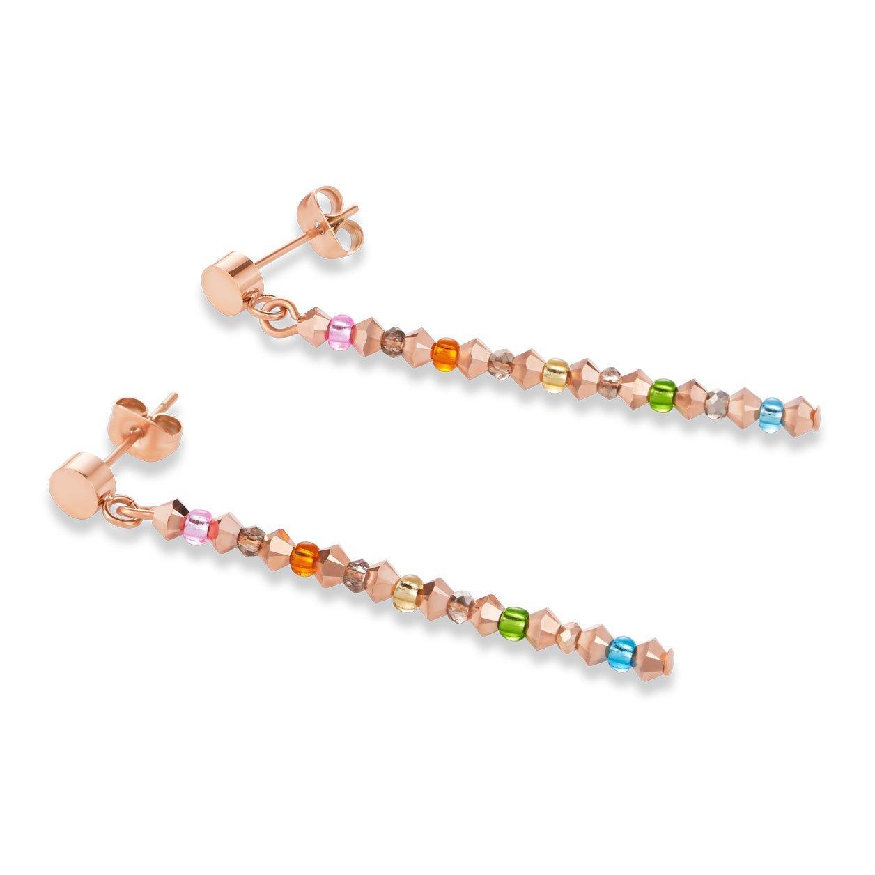 Coeur De Lion Rose Gold Tone Multi-Coloured Drop Earrings