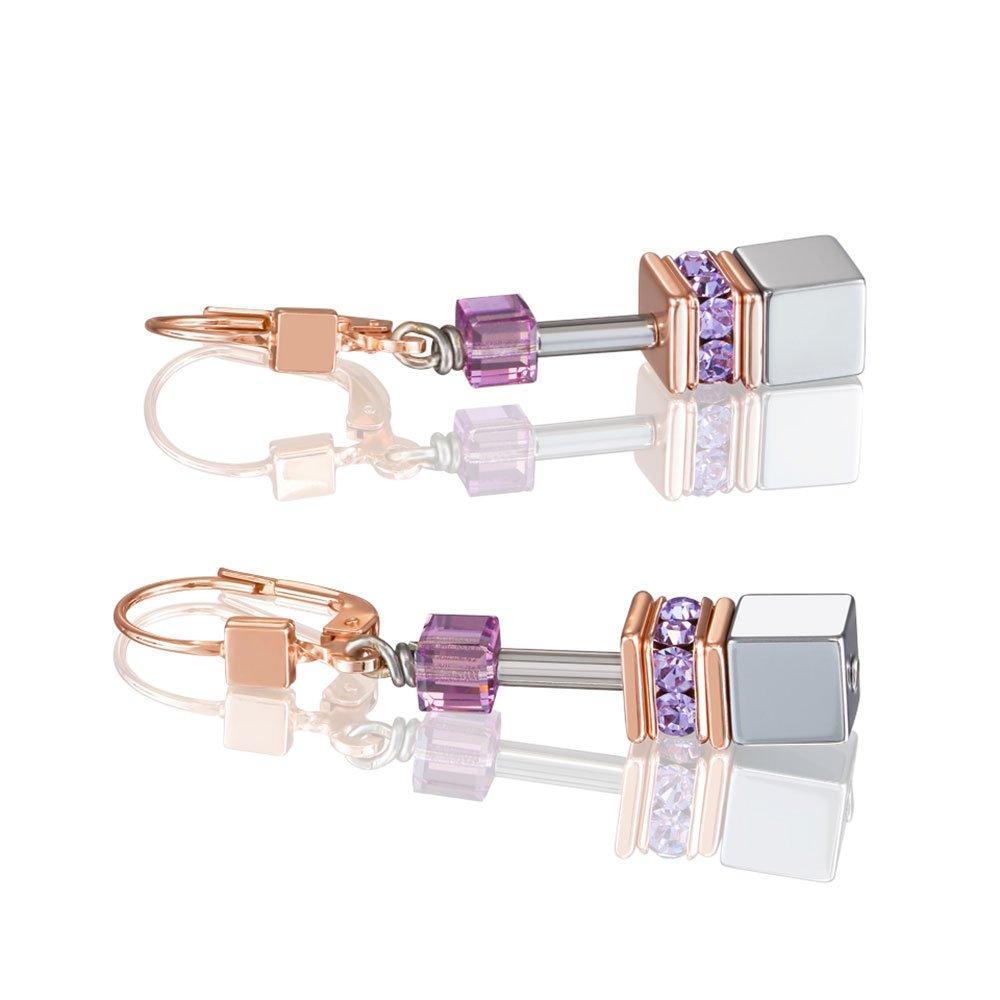 Coeur De Lion Geocube Rose Gold Tone Drop Earrings