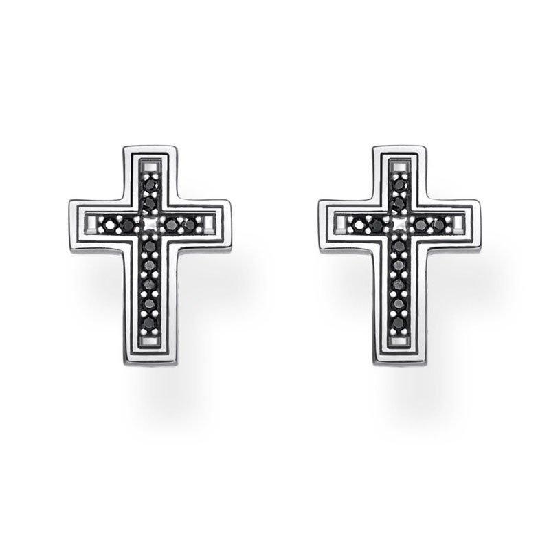 Thomas Sabo Silver Black Cubic Zirconia Cross Earrings