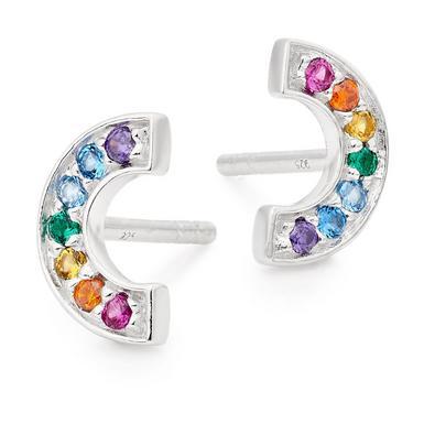 Silver Cubic Zirconia Multicoloured Rainbow Earrings