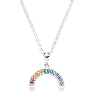 Silver Cubic Zirconia Multicoloured Rainbow Necklace