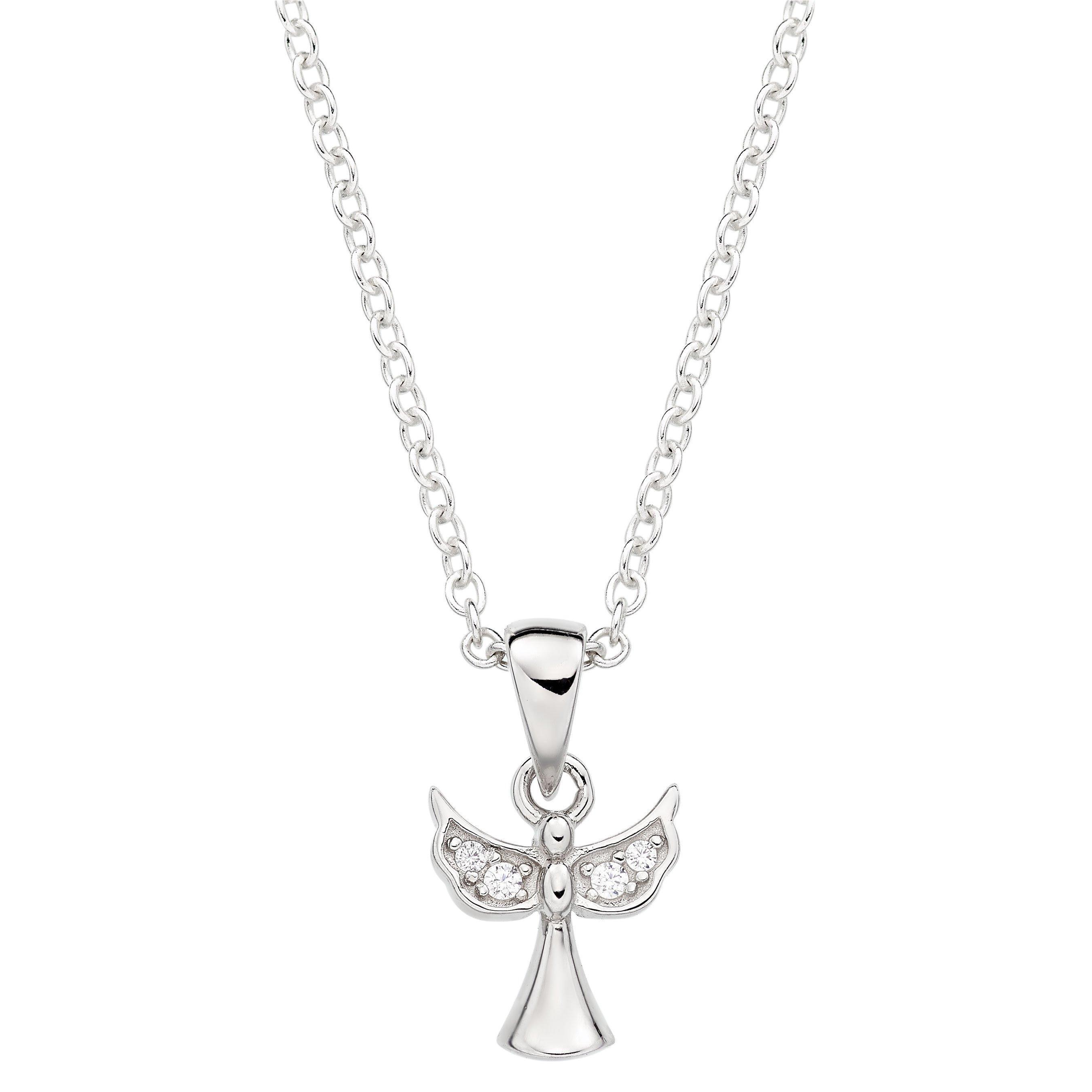 Silver Cubic Zirconia Angel Pendant
