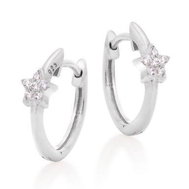 Silver Cubic Zirconia Star Hoop Earrings