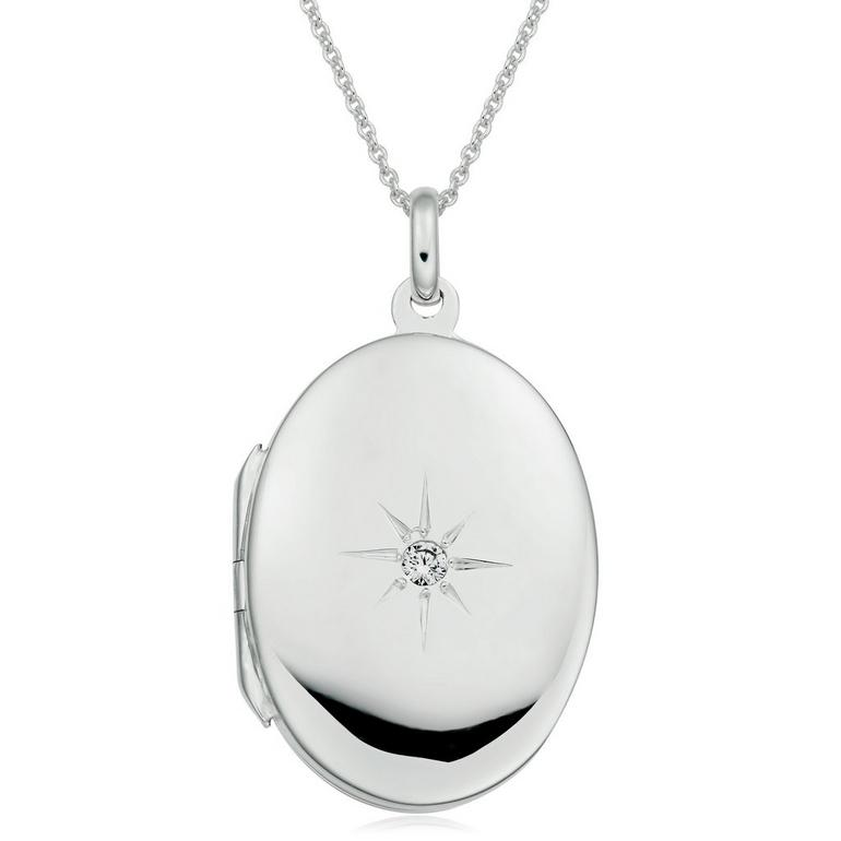 Silver Cubic Zirconia Starburst Locket