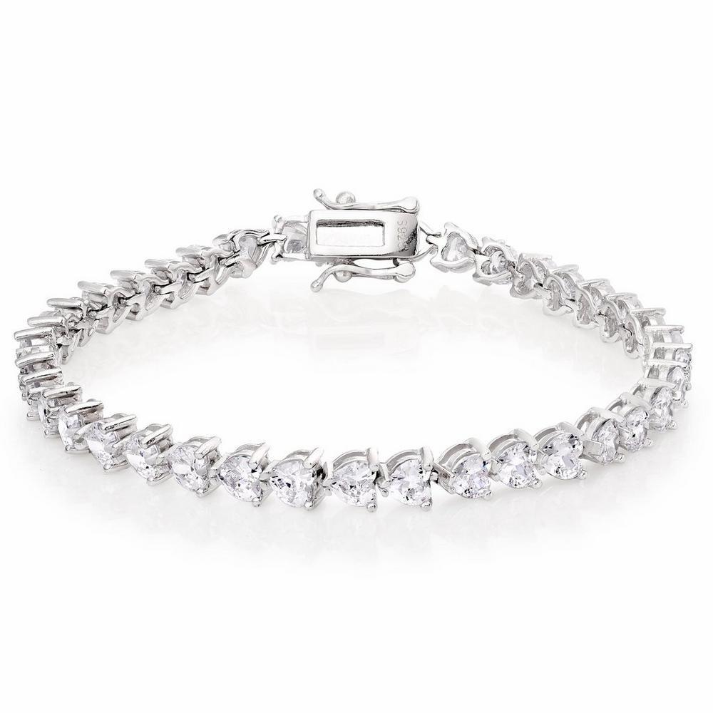 Silver Cubic Zirconia Heart Tennis Bracelet
