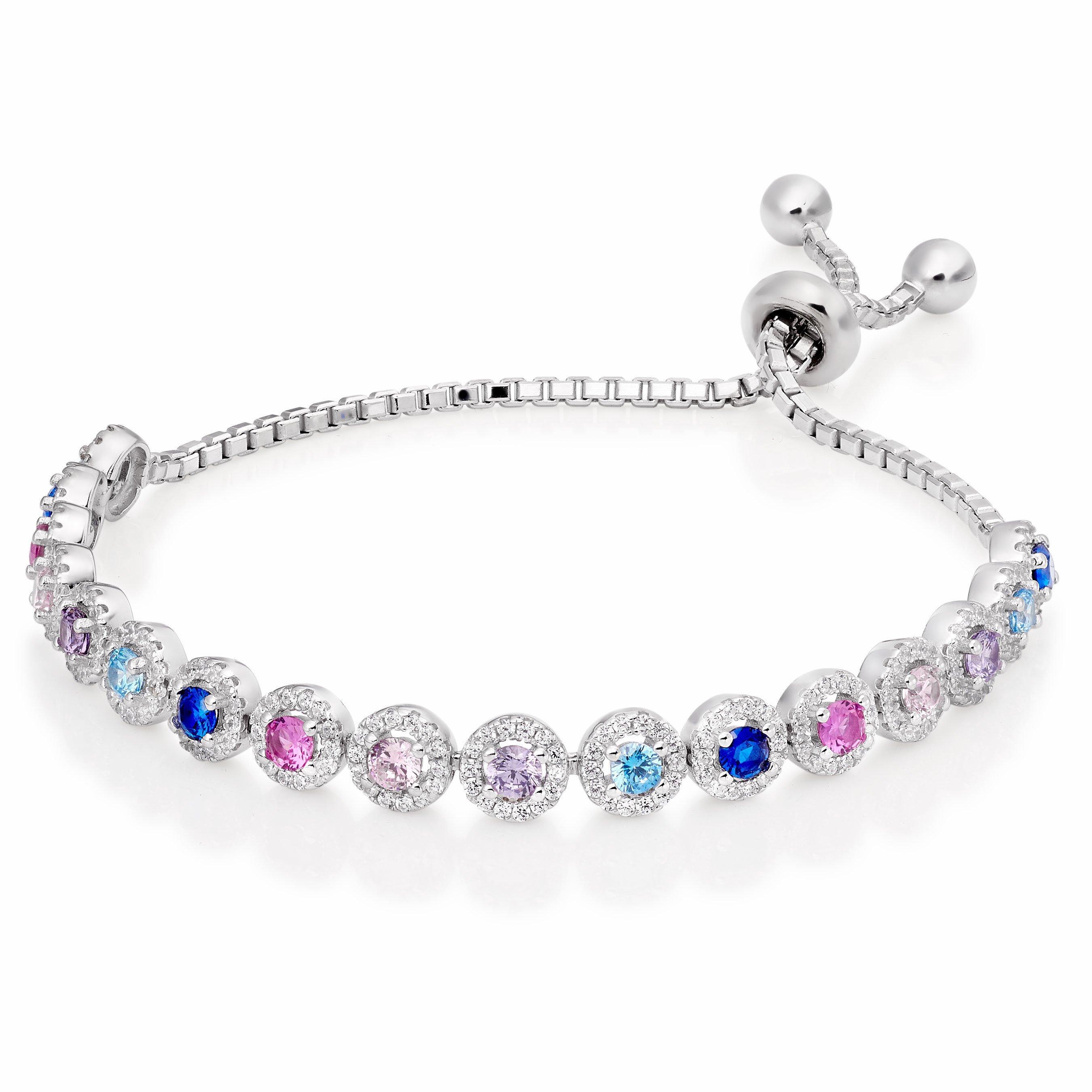 Silver Cubic Zirconia Multi-Coloured Slider Bracelet