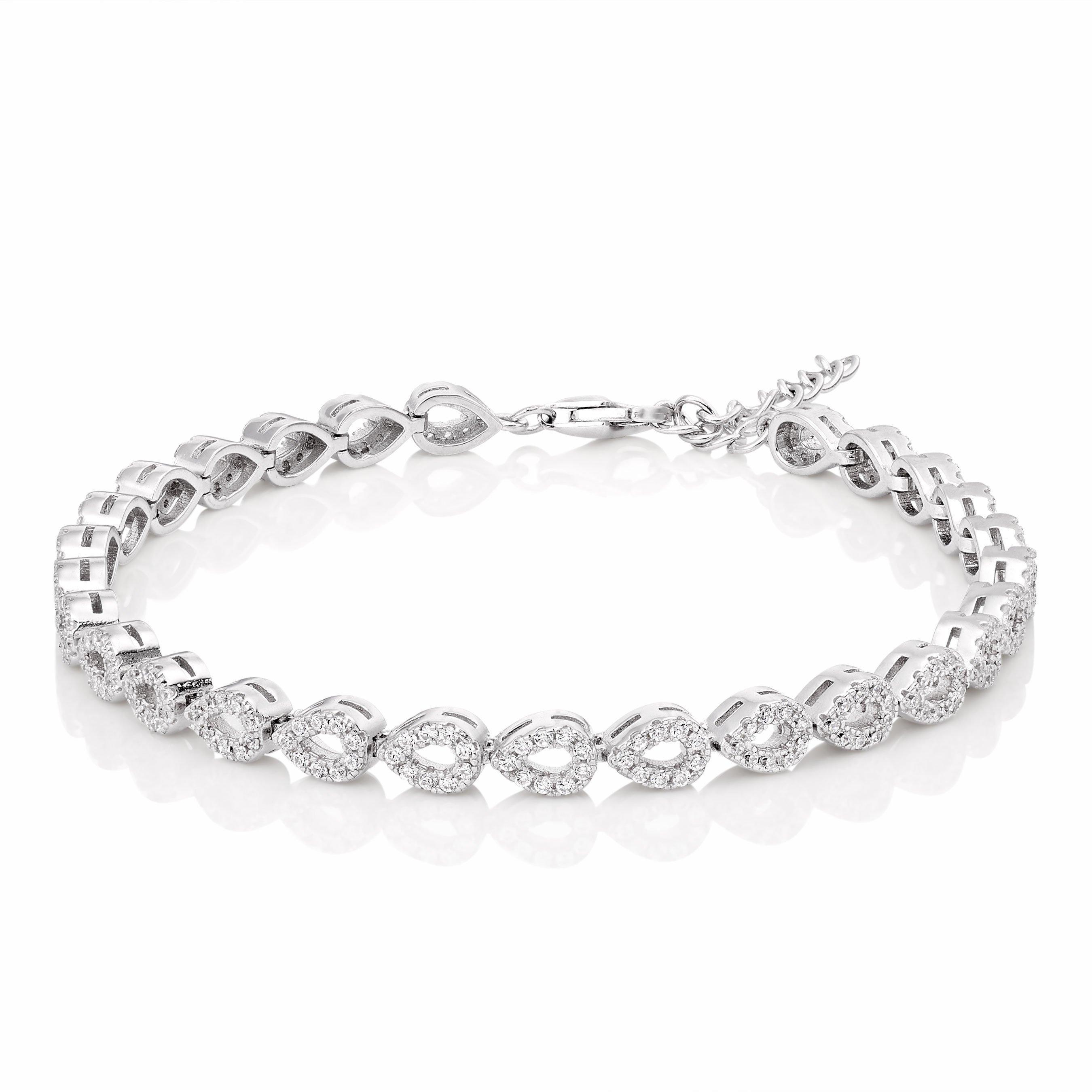 Silver Cubic Zirconia Pear Bracelet