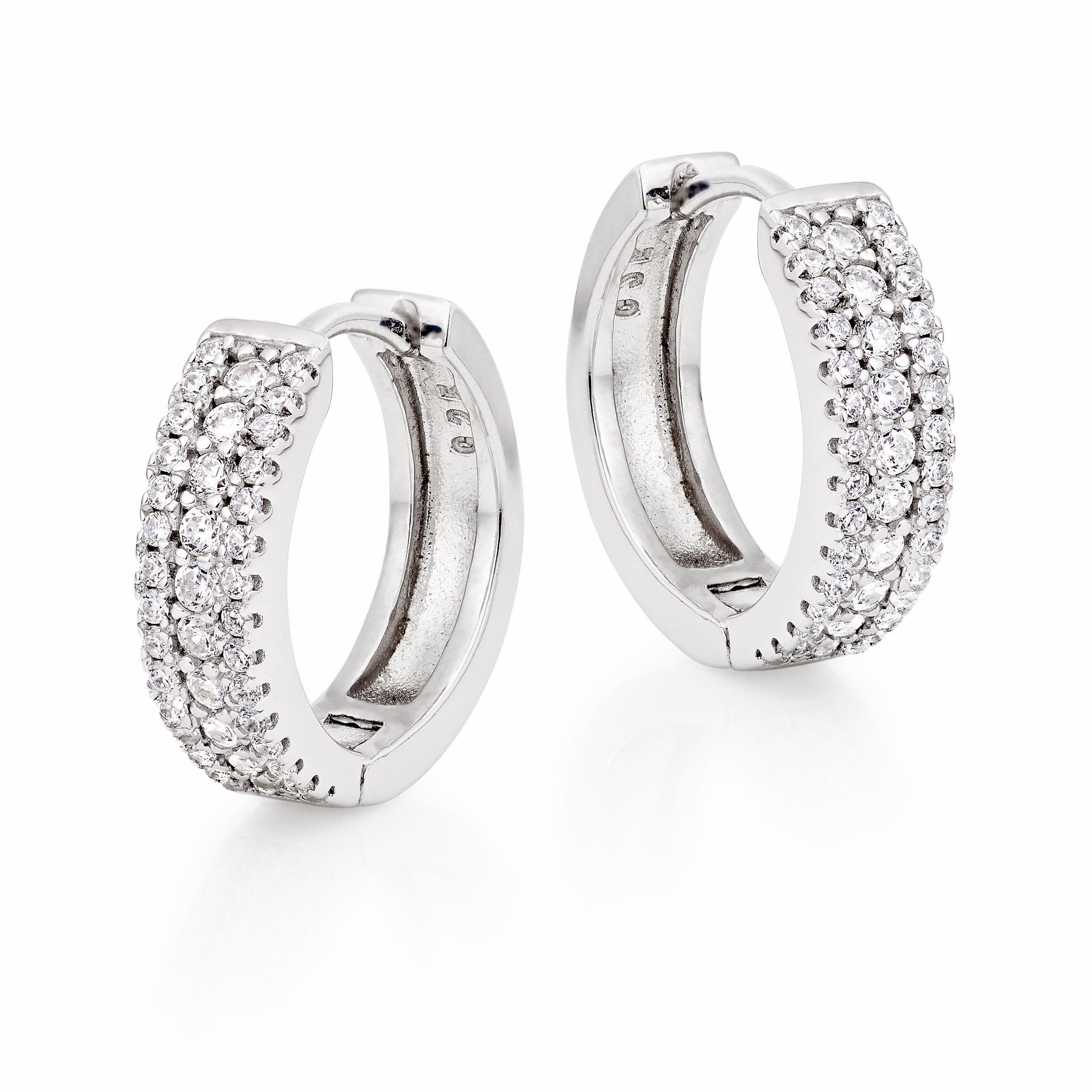 Silver Cubic Zirconia Triple Row Hoop Earrings