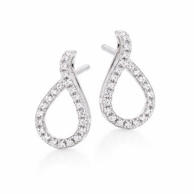 Silver Cubic Zirconia Pear Twist Stud Earrings