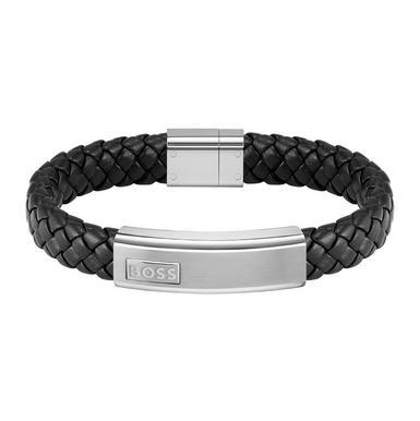 BOSS Black Leather Lander Men's Bracelet