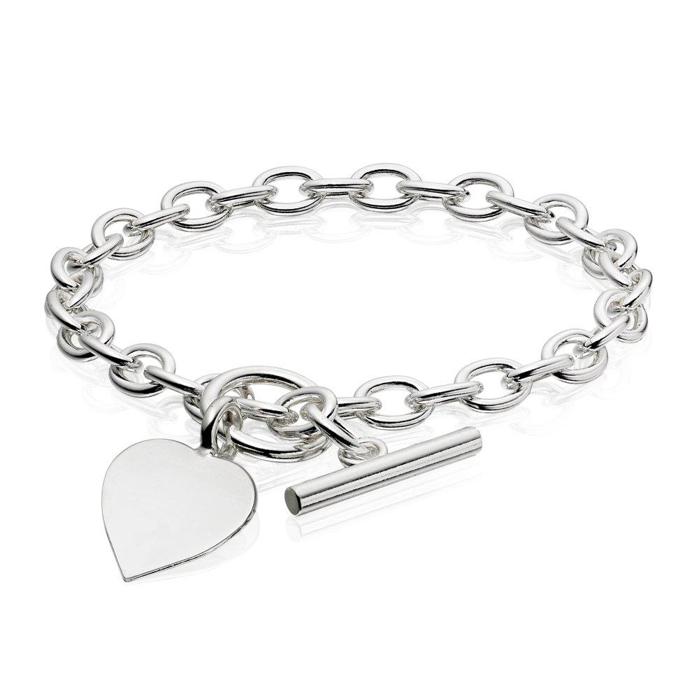 Silver Belcher Heart Bracelet