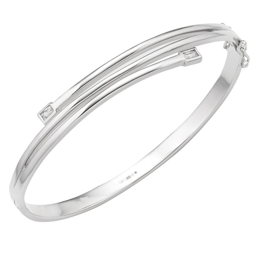 Silver Cubic Zirconia Bangle