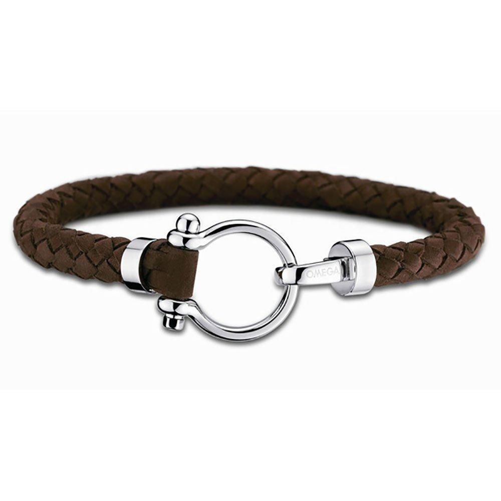 OMEGA Aqua Steel And Leather Men's Bracelet