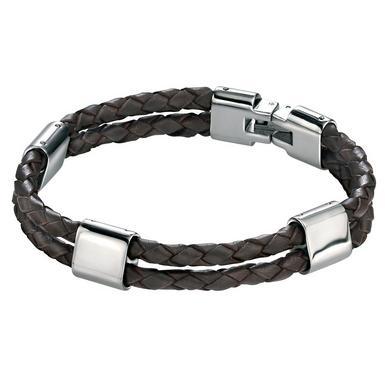 Men's Steel and Brown Leather Bracelet