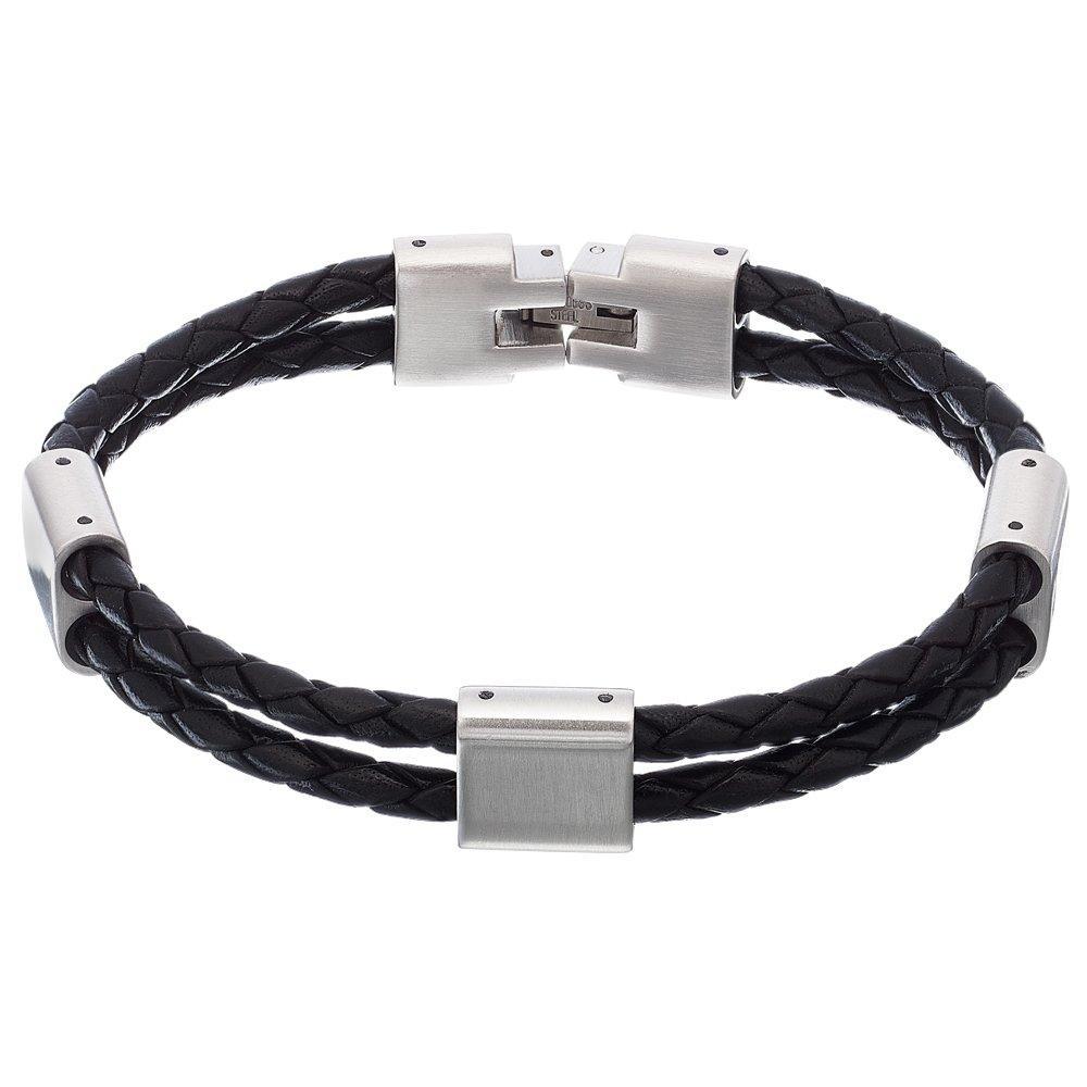 Steel and Black Leather Men's Bracelet