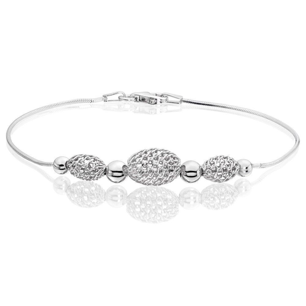 Silver Mesh Bead Bracelet