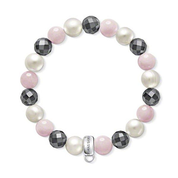 Thomas Sabo Charm Club Silver Freshwater Cultured Pearl, Hematite and Rose Quartz Bracelet