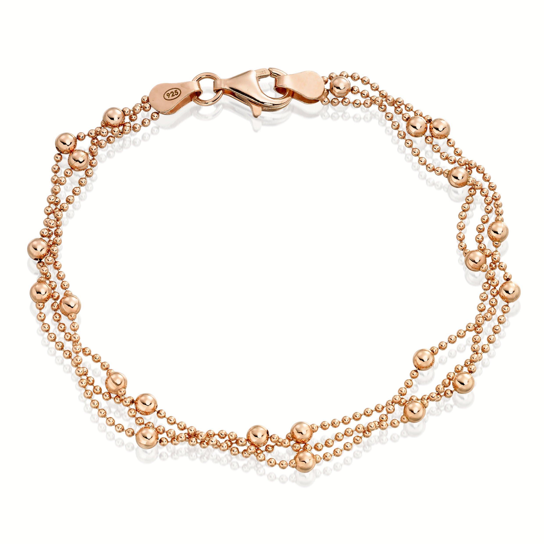 Silver Rose Gold Multi-Strand Bracelet