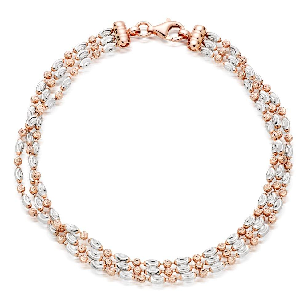 Silver and Rose Gold Plated Three Row Bracelet