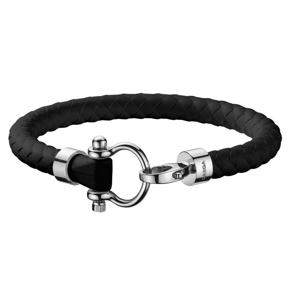 OMEGA Aqua Steel and Navy Rubber Men's Bracelet