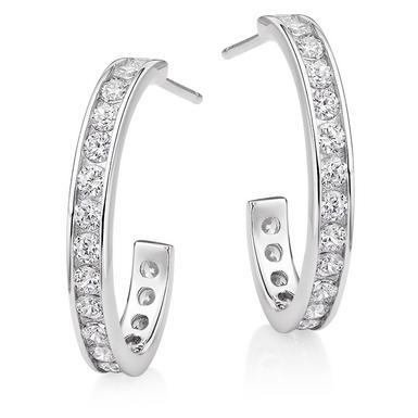 Silver Cubic Zirconia Hoop Earrings