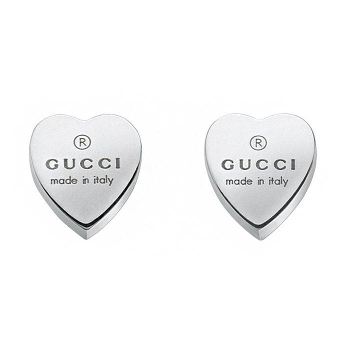 Gucci Trademark Heart Silver Stud Earrings