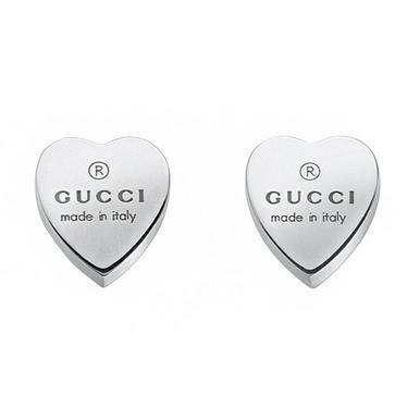 Gucci Trademark Heart Silver Stud Earrings