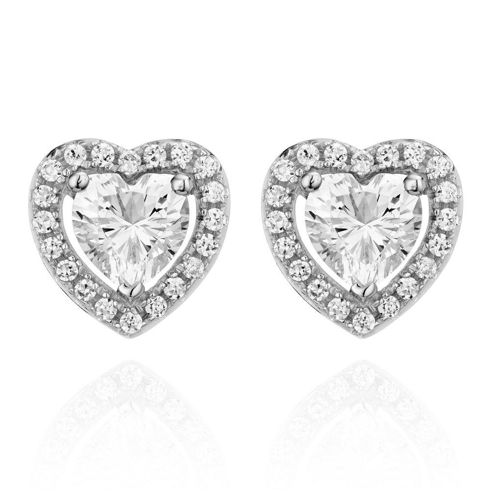 Silver Cubic Zirconia Heart Earrings