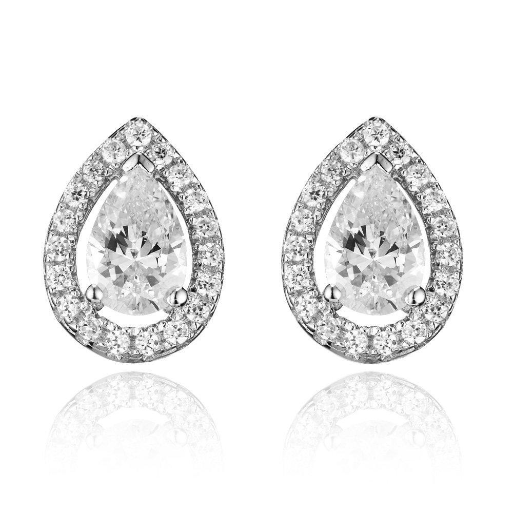 Silver Cubic Zirconia Teardrop Stud Earrings