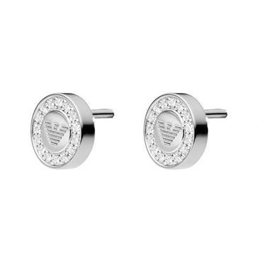 Emporio Armani Silver Crystal Stud Earrings