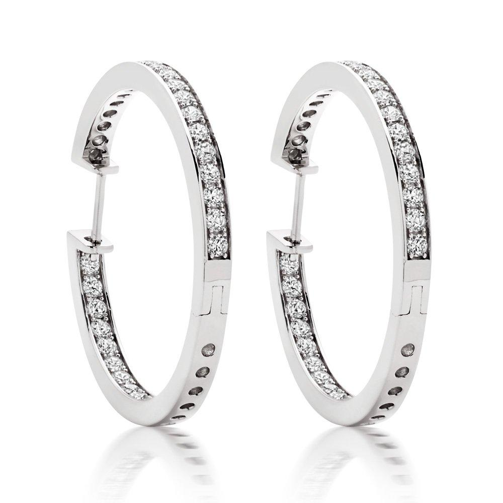 Silver Cubic Zirconia Round Hoop Earrings