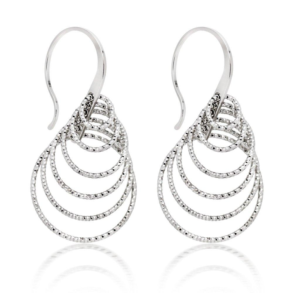 Silver Sparkle Cut Loop Drop Earrings