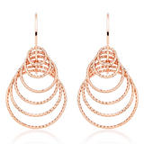 Silver Rose Gold Plated Sparkle Cut Loop Drop Earrings