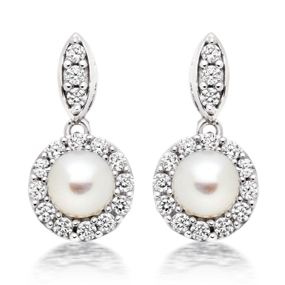 Silver Cubic Zirconia Freshwater Cultured Pearl Drop Earrings