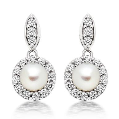Silver Pearl and Cubic Zirconia Drop Earrings