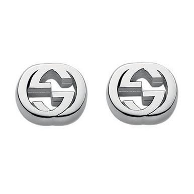 Gucci Interlocking Silver Stud Earrings