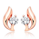 Silver Rose Gold Plated Cubic Zirconia Stud Earrings