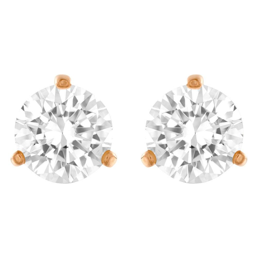 Swarovski Solitaire Rose Gold Plated Crystal Stud Earrings